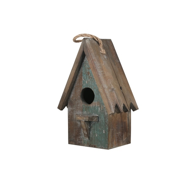 Wooden Bird House with Saw tooth Edge Design on Roof, Brown. Opens flyout.