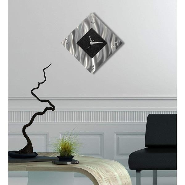 Silver Wall Clock Diamond Art Abstract Silver Modern Functional Art Jon Allen
