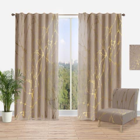 Designart 'Golden Marble Design II' Mid-CenturyCurtain Panel
