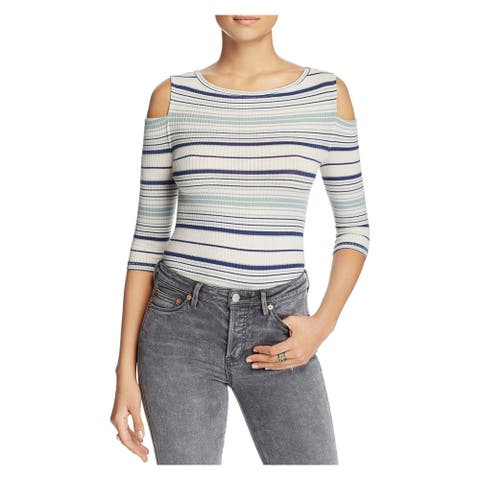 WE THE FREE Womens Ivory Cut Out Striped 3/4 Sleeve Jewel Neck Sweater Size: L
