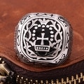 Vienna Jewelry The King's Seal Emblem Stainless Steel Ring - Thumbnail 2