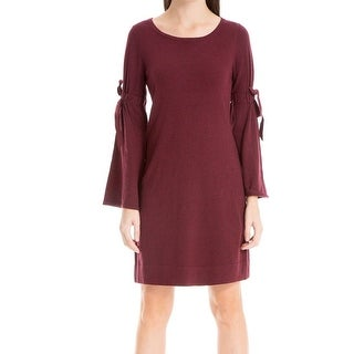 Max Studio Red Women's Size XL Tie-Sleeve A-Line Sweater Dress