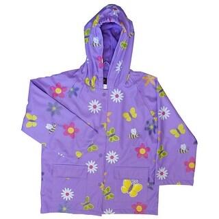 Foxfire Little Girls Purple Floral Butterfly Print Hooded Raincoat 2T-6