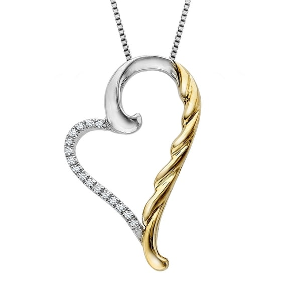 Heart Pendant with Diamond Accents in Sterling Silver & 14K Gold