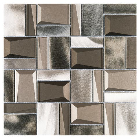 TileGen. Random Sized Metal Mosaic Tile in Gray/Gold Wall Tile (10 sheets/9.8sqft.)