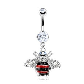 Surgical Steel Multi Paved Gem Striped Bumble Bee Dangle Navel Belly Button Ring (Sold Ind.)