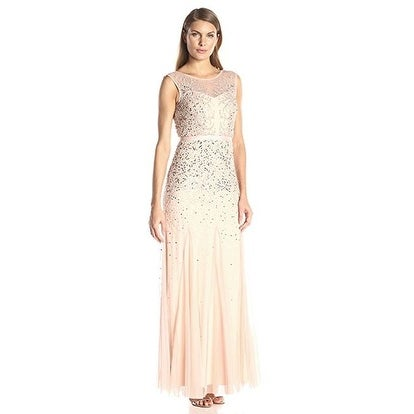 68c6dcea8a5 Shop Adrianna Papell Women s Long Beaded Gown with Illusion Neckline ...