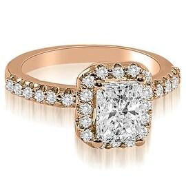 1.42 cttw. 14K Rose Gold Emerald Cut Halo Diamond Engagement Ring