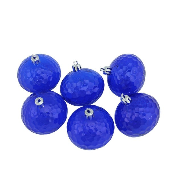 "6ct Lavish Blue Transparent Shatterproof Hammered Disco Ball Christmas Ornaments 2.5"" (60mm)"