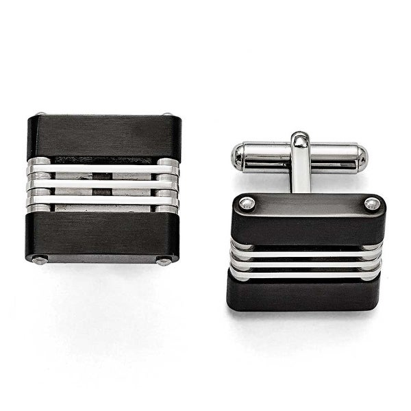 Chisel Stainless Steel Brushed and Polished Black IP Cuff Links