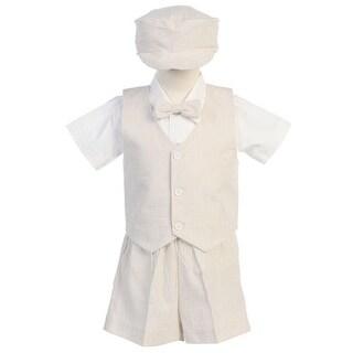 Boys Khaki Vest Shorts Easter Ring Bearer Formal Suit 12M-4T