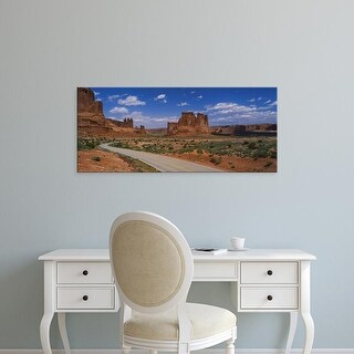 Easy Art Prints Panoramic Image 'Empty road running through a national park, Arches National Park, Utah' Canvas Art