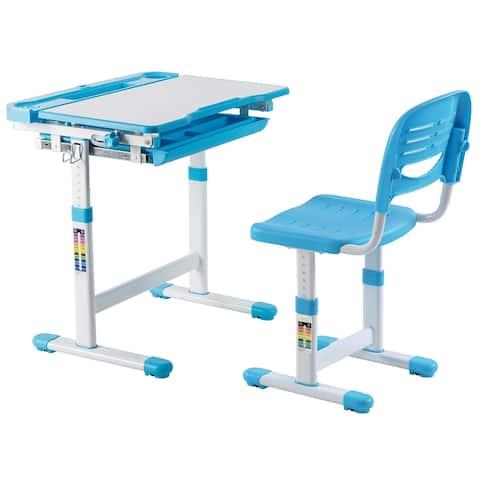 Mount-It! Height Adjustable Kids Desk Desk Set with Chair Blue