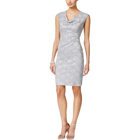 Connected Apparel Womens Petites Cocktail Dress Lace Embellished