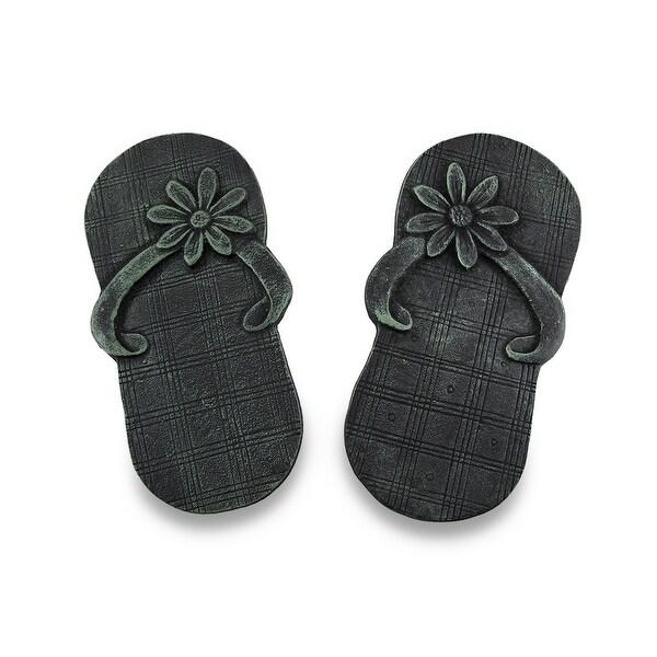 Pair of Cast Iron Flip Flop Stepping Stones Verdigris Finish - 12.25 X 6.5 X 1 inches