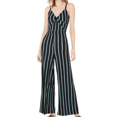 Bar III Women's Jumpsuit Blue Size 6 Twist Front Striped Wide Leg