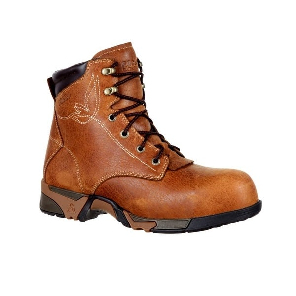 Rocky Work Boots Womens Full Grain Leather Embroidery Brown