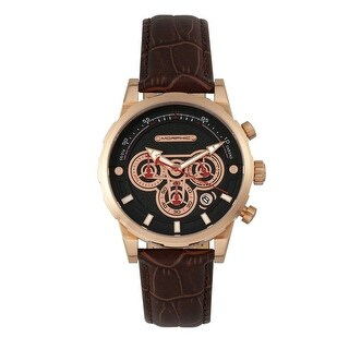 Morphic M60 Series Men's Quartz Chronograph Watch, Genuine Leather Band, Luminous Hands