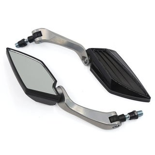 Unique Bargains Universal Motorcycle Bike Black Rear View Side Mirror 2PCS for 8mm 10mm Thread