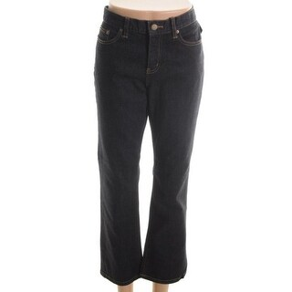 LRL Lauren Jeans Co. Womens Petites Tanya Classic Dark Wash Straight Leg Jeans - 10P