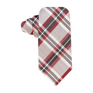 Alfani Spectrum Silk Classic Necktie Plaid Charcoal Red Tie