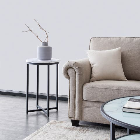 TiramisuBest Marble side table or end table for the living room