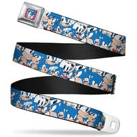 Sonic Classic Sonic Standing Pose2 Full Color Red Blue Sonic Poses Stacked Seatbelt Belt
