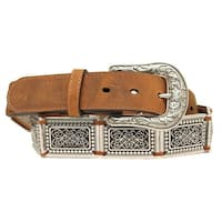 Nocona Western Belt Womens Square Conchos Link L Medium Brown