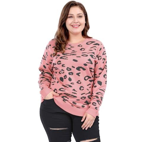 Women's Plus Size Crew Neck Long Sleeve Leopard Knit Sweater
