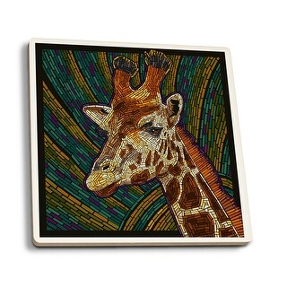 Giraffe - Paper Mosaic - LP Artwork (Set of 4 Ceramic Coasters)