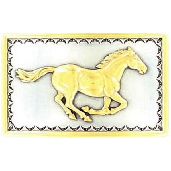 Nocona Western Belt Buckle Womens Horse Silver Gold - 2 x 3 1/4