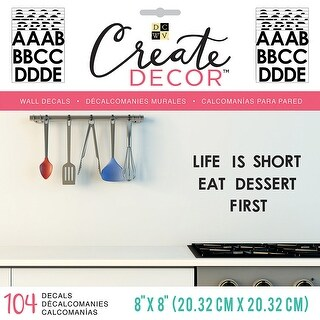 """Dcwv Create Decor Removable Wall Decals 8""""X8""""-Black Alphabet, 8 Sheets"""