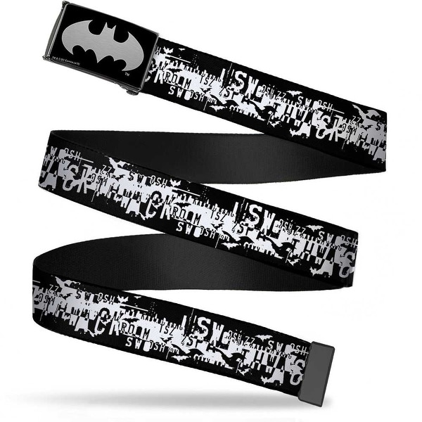 Batman Reverse Brushed Silver Cam Batman Action Verbiage Black White Web Belt