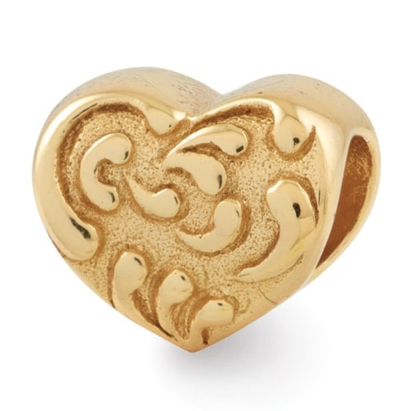 Sterling Silver Reflections Gold-plated Scroll Heart Bead (4mm Diameter Hole)