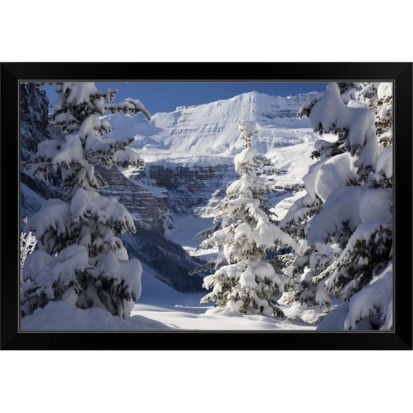 """Snowy scene at Lake Louise, Alberta, Canada"" Black Framed Print"