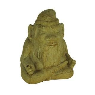 Designer Stone Rustic Brown Meditating Garden Gnome Concrete Statue - 6 X 4.5 X 4 inches