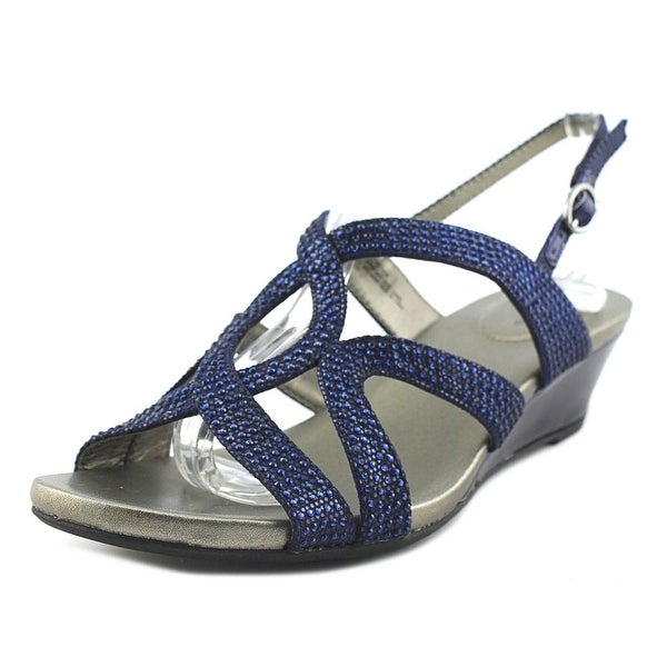 Bandolino Gomeisa Women Open Toe Synthetic Blue Wedge Sandal