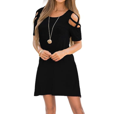 Womens Dresses Cold Shoulder Round Neck Loose Tunic Casual, A1_black, Size Large