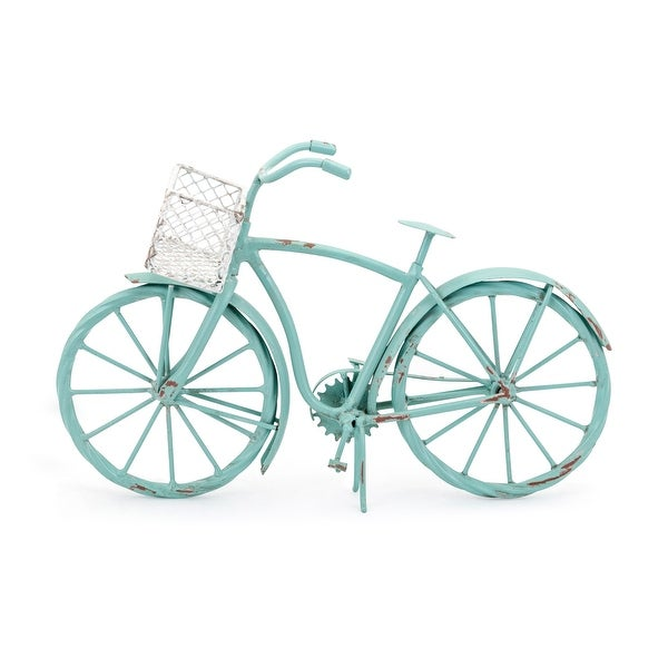 """IMAX Home 17283 Kathie 12"""" Wide Iron Bicycle Statue - Green"""