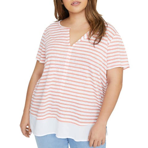 Sanctuary Womens Plus Top Layered Striped - Pink - 2X