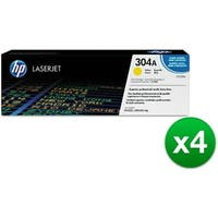 HP 304A Yellow Contract LaserJet Toner Cartridge (CC532AG)(4-Pack)