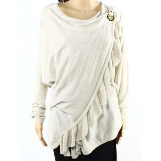 INC NEW Beige Sandune Women's Size XL Wrap Buckle Ruffle Trim Sweater