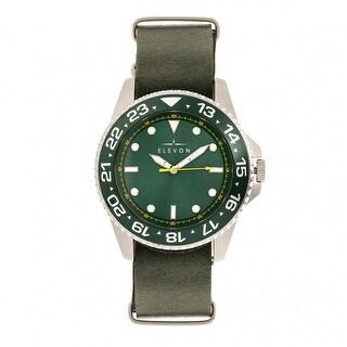 Elevon Dumont Leather-Band Watch - Silver/Green