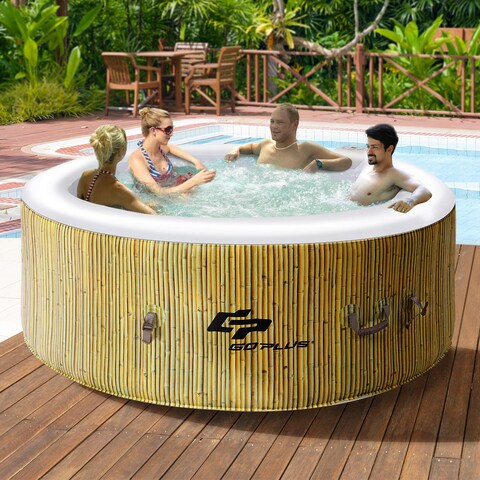 Goplus 4 Person Inflatable Hot Tub Outdoor Jets Portable Heated Bubble Massage Spa