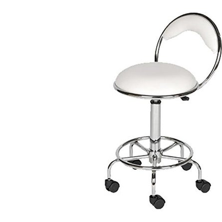 LCL Beauty White Salon Stool with Back Support and Foot Rest