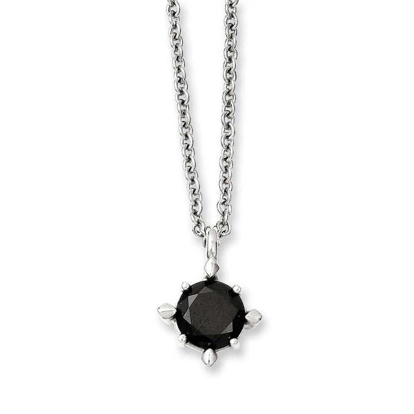 "Stainless Steel 18"" Black CZ Pendant Necklace (1 mm) - 18 in"