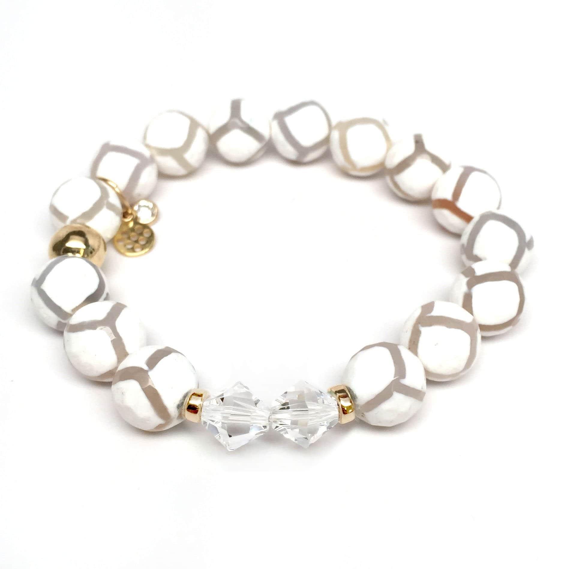 "White Agate Paris 7"" Bracelet - Thumbnail 0"