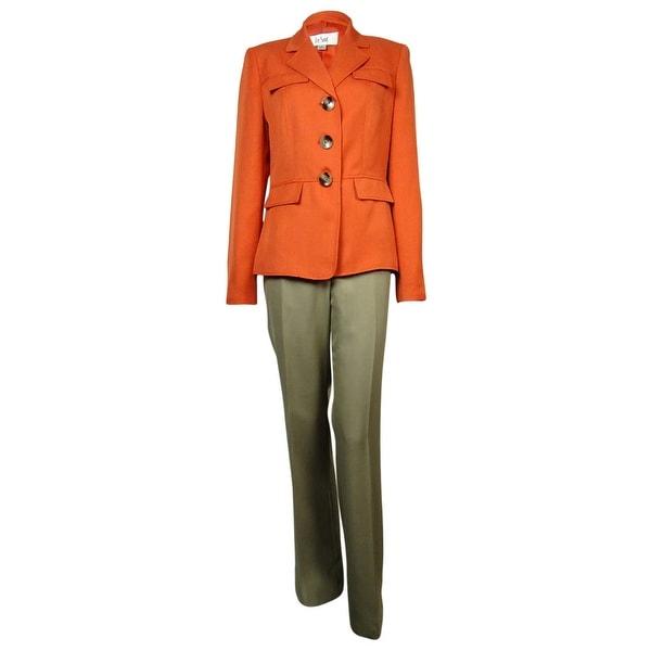 Le Suit Women's Cote D'Azur Faux Flap Pocket Pant Suit - tangerine/ khaki - 4