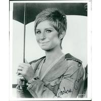 Signed Streisand Barbra BW 8x10 Photo Crease in bottom left corner of photo autographed