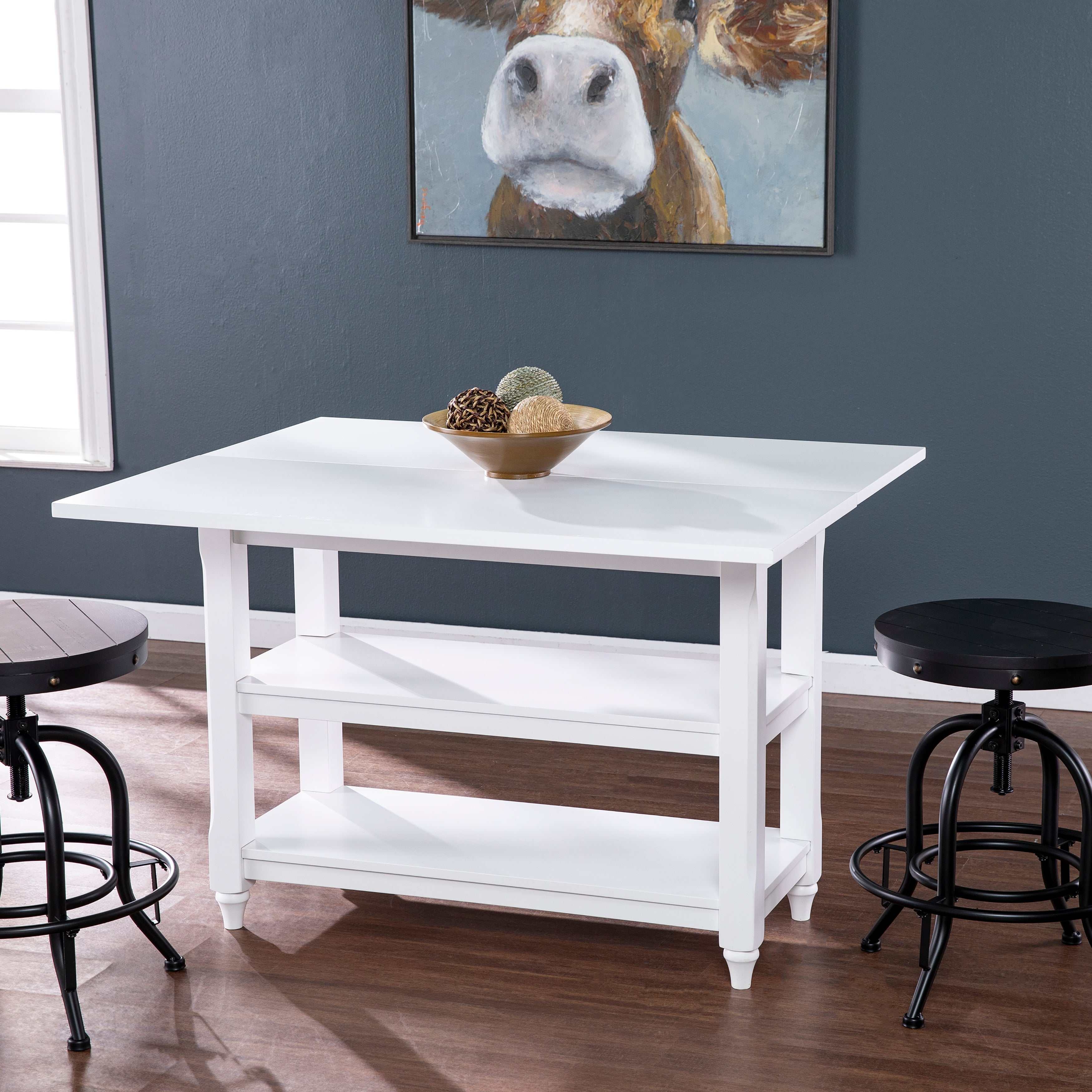 Brushford White Convertible Console To Dining Table Overstock 19214090